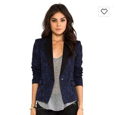 BCBG MaxAria Navy Lace Blazer In mint condition, I have only used it a few times, form fitting while still comfortable!! Detail description of the blazer is in the third picture:). BCBGMaxAzria Jackets & Coats Blazers