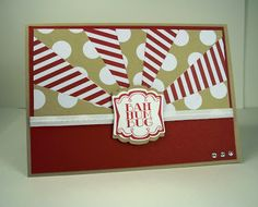 handmade Christmas card by Kylie Clemmence - Pink Ink Stamper ... sunburst design in red, white and kraft ... great use of striped and polka dot papers for the sunburst ... Stampin' Up!