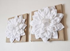 """TWO Wall Flowers -White Dahlias on Burlap 12 x12"""" Canvas Wall Art- Rustic Home Decor- on Etsy, $66.00"""