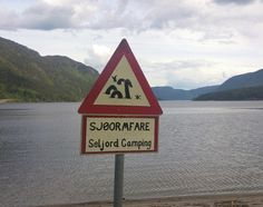 Danger! Watch out for sea monster!  Seljord lake, Seljord, Telemark, Norway