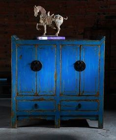 Xian Cupboard - Chinese Furniture Xian Cupboard in Blue Contemporary Handmade Chinese Furniture [] - : Qing Art - Chinese Furniture, Soft Furnishings, Lighting, Contemporary Oriental Interiors Asian Furniture, Chinese Furniture, Oriental Furniture, Painted Furniture, Furniture Design, Oriental Decor, Blue Furniture, Asian Interior, Home Interior Design