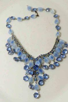 Vintage Alice Caviness Fringe Bib Blue Opalescent Art Glass Oval Rhinestone…