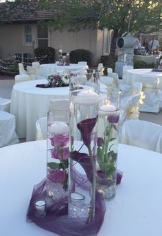 Floating Candles Wedding, Purple Wedding Centerpieces, Wedding Decorations On A Budget, Engagement Party Decorations, Centerpiece Decorations, Vase Centerpieces, Grey Wedding Decor, Wedding Table, Wedding Colors