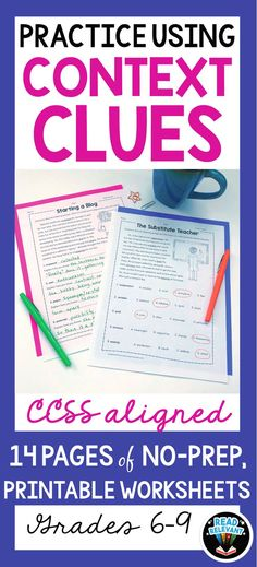 Do your students struggle with understanding and using vocabulary? This no-prep, printable packet helps your students master using context clues to determine a word's meaning. It shows examples of definition/explanation context clues, synonym/restatement context clues, antonym/contrast context clues, and inference context clues.   Students will practice multiple choice as well as constructed response questions, all based on using context clues to determine a word's meaning.
