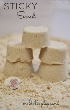 Sticky Sand Dough (using play sand, flour, veggie oil or baby oil): Sticky sand is lots of fun for kids to play with. It acts like wet sand, but it isn't actually wet. It sticks together well, creating a perfect molding sand for sculpting and creating Craft Activities For Kids, Toddler Activities, Projects For Kids, Diy For Kids, Cool Kids, Crafts For Kids, Sand Projects, Sensory Activities, Toddler Crafts
