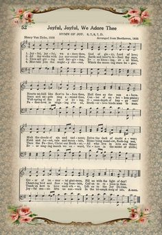Free Printable Sheet Music of Hymn ~ Joyful Joyful We Adore Thee  |  http://www.littlebirdieblessings.blogspot.com/2012/02/hymn-joyful-joyful-we-adore-thee.html