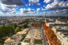 Paris france skyline aerial.