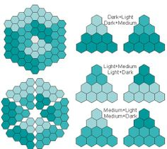 Getas Quilting Studio: Hexy cubes -great ideas for making colour gradation patterns with hexagons