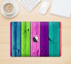 "The Wide Neon Wood Planks Skin Kit for the 12"" Apple MacBook from DesignSkinz"