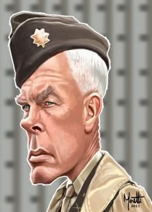 """Olivier: Lee Marvin as the Major John Reisman in """"The dirty dozen"""". Cartoon Faces, Funny Faces, Cartoon Art, Caricature Artist, Caricature Drawing, Funny Caricatures, Celebrity Caricatures, Art Pictures, Art Images"""