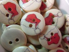 10 Santa Hat Buttons- 15mm- Christmas Sewing- Scrapbooking- Jewelry Making- Crafts
