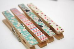 Quick and Pretty Washi Clothespins :  - for that adorable washi tape I picked up at the $ store last week!