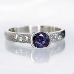 Alexandrite Half Bezel Diamond Star Dust Palladium Engagement Ring, size 6-8