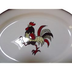 Metlox Vintage Strutting Rooster Platter from saltymaggie on Ruby Lane