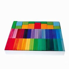 This fantastic set of colorful stained wood tiles comes with 58 rectangles and fifteen blocks of ...