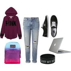 Casual Pink by solbranca on Polyvore featuring Victoria's Secret PINK, Whistles, Vans, Speck and JanSport