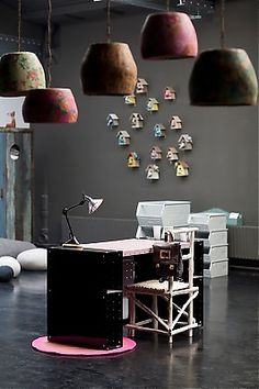 Cool desk, pendants and bird houses