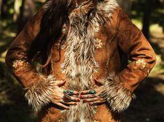 GROOVY afghan style embroidered coat. Faux fur 1970's