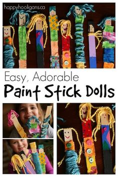 Make an adorable family of paint stick dolls using paint sticks and colourful fabric and yarn scraps! Fun for all ages and highly addictive!