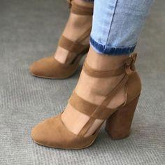 Strappy Suede Block Heel Women's Shoes 3 Colors