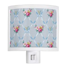 Girly Blue Bows Pretty Pink Rose Floral Pattern Night Light - floral gifts flower flowers gift ideas