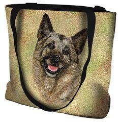 Norwegian Elkhound Dog Portrait Art Tapestry Tote Bag