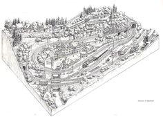 Model Railway Track Plans, Train Route, Ho Scale Trains, Model Train Layouts, Model Trains, Club, Trains, Italia, Blue Prints