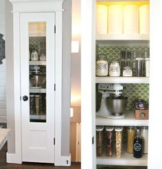 10 Inspiring Small-Space Pantries thinking about this design for the kitchen pantry Small-Space Pant Kitchen Pantry Doors, Glass Pantry Door, Small Kitchen Cabinets, Small Space Kitchen, Kitchen Cabinet Design, Small Space Living, Kitchen Interior, Kitchen Pantries, Kitchen Storage