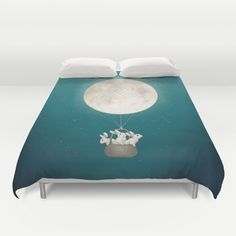 moon bunnies Duvet Cover by Laura Graves - $99.00