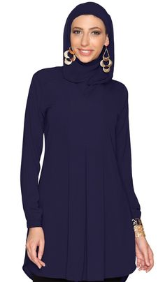 6833ff63e01 Leah Modest Long Navy Blue Tunic Dress | Find more Modest Islamic Clothing  at Artizara.com