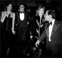 Marina Schiano, Yves Saint Laurent, Loulou de la Falaise and Steve Rubell attend the party for Opium Perfume Launch on September 20, 1978 at Studio 54 in New York City. (Photo by Ron Galella)  http://www.resee.fr/shop?f[0]=field_commerce_product%253Afield_product_designer%3A159