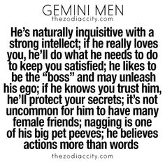 What you need to know about gemini men. For more zodiac fun facts, click here.