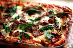 Roasted Butternut Squash Lasagna with Goat Cheese, Bacon, and Fried Sage