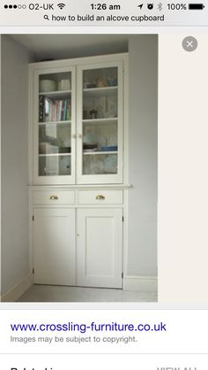 Image result for bespoke alcove cupboards with glazed doors for off centre chimney breast