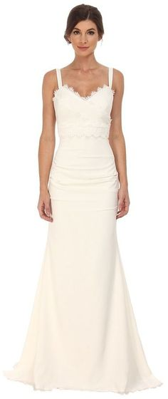 Nicole Miller Tonya Stretch V-Neck Gown Women's Dress