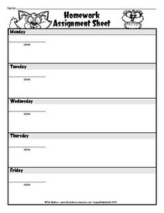 Primary Homework Assignment Sheets | Weekly Homework Assignment ...