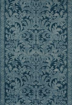 Carlotta Velvet Damask in Indigo, 175111.  http://www.fschumacher.com/search/ProductDetail.aspx?sku=175111  #Schumacher