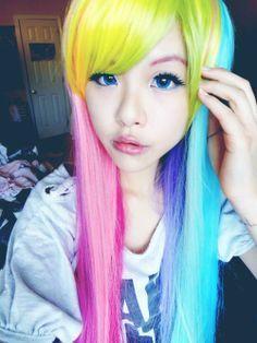kawaii rainbow hair asian pretty rainbow dash