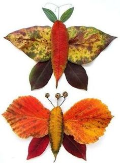 Autumn leaves creative decoration and craft ideas Basteln Autumn Crafts, Autumn Art, Nature Crafts, Fall Leaves Crafts, Diy For Kids, Crafts For Kids, Leaf Animals, Leaf Projects, Leaf Crafts