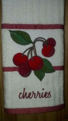 Cherries Kitchen Towel Embroidered by ClosetCreations for $8.00 #zibbet
