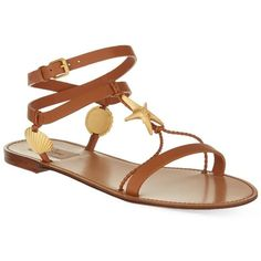 VALENTINO Sea elements flat sandals ($920) ❤ liked on Polyvore featuring shoes, sandals, tan, open toe flat shoes, tan leather sandals, tan shoes, tan flat sandals and starfish sandals
