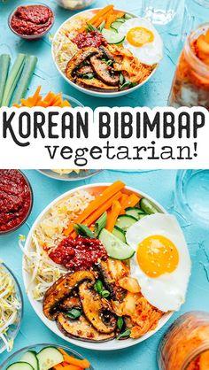 Vegetarian Kimchi Bibimbap - Vegetarian kimchi bibimbap recipe is a traditional Korean dish made with kimchi, mushrooms, veggies, and gochujang sauce. It requires only 30 minutes to make and is full of flavor. Bibimbap Recipe, Vegetarian Salad Recipes, Vegetarian Lunch, Lunch Recipes, Vegetable Recipes, Bibimbap Bowl, Cooking Recipes, Healthy Recipes, Vegetarian Meals