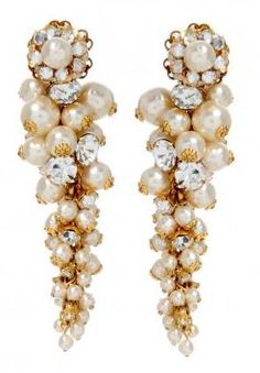 miriam haskell●Cascading Pearl Cluster Earrings
