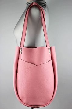 Pink Leather Shoulder Bag/Bubble Gum Pink Leather Tote