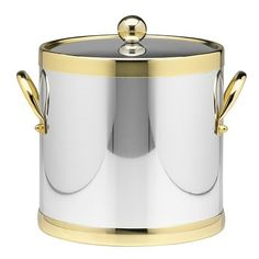 Americano 3 Qt Ice Bucket with Brass Band in Chrome
