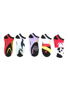 <p>These villains are bad all the way down to their toes.No-show socks from Disney featuring colorful villains designs, including Cruella De Vil, The Queen of Hearts, Ursula, Maleficent and Jafar.</p>  <ul> <li>One size fits most</li> <li>98% polyester; 2% spandex</li> <li>Wash cold; dry low</li> <li>Imported</li> </ul>