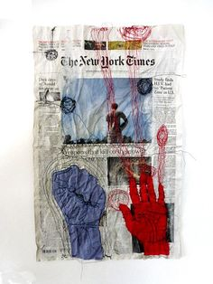 altering the news with gestures. Gcse Art Sketchbook, A Level Textiles Sketchbook, Art Alevel, Frida Art, Protest Art, Contemporary Embroidery, Political Art, A Level Art, Fabric Manipulation
