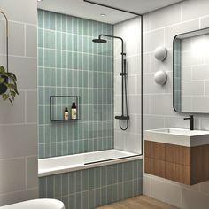 Mint Bathroom, New Bathroom Ideas, Diy Bathroom Decor, Bathroom Inspiration, Small Bathroom, Green Bathroom Tiles, Modern Bathroom Design, Bathroom Interior Design, Interior Modern
