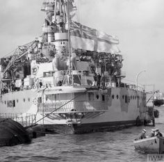 Stern view of 15 in Queen Elizabeth class battleship HMS Warspite - the recipient of more Battle honours across two World Wars than any other capital ship, irrespective of nationality.
