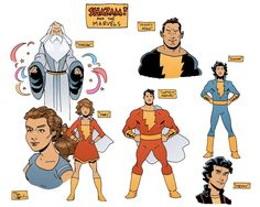 """Quick design ideas for Shazam and the Marvels by Evan """"Doc"""" Shaner. Original Captain Marvel, Captain Marvel Shazam, Character Modeling, Comic Character, Dr Fate, Arte Dc Comics, Hawkgirl, Detective Comics, Dc Heroes"""